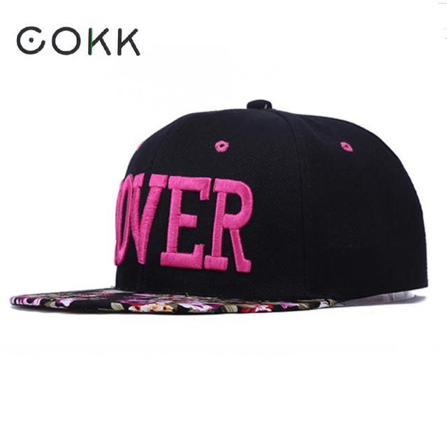 4125d6971076b COKK flor gorra de béisbol de las mujeres bordado carta amante de Hip Hop  Snapback sombreros
