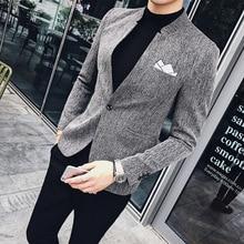 Chinese Collar Suit Blazer Men Pin Dot Stripe Male Blazer Suit Coat Mandarin Collar Solid Casual Blazer Hommes Vintage Slim fit