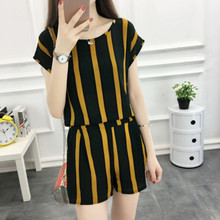 YICIYA yellow Striped short 2 piece set women sets 2019 outfit tracksuit sportswear co-ord chiffon pant and top summer