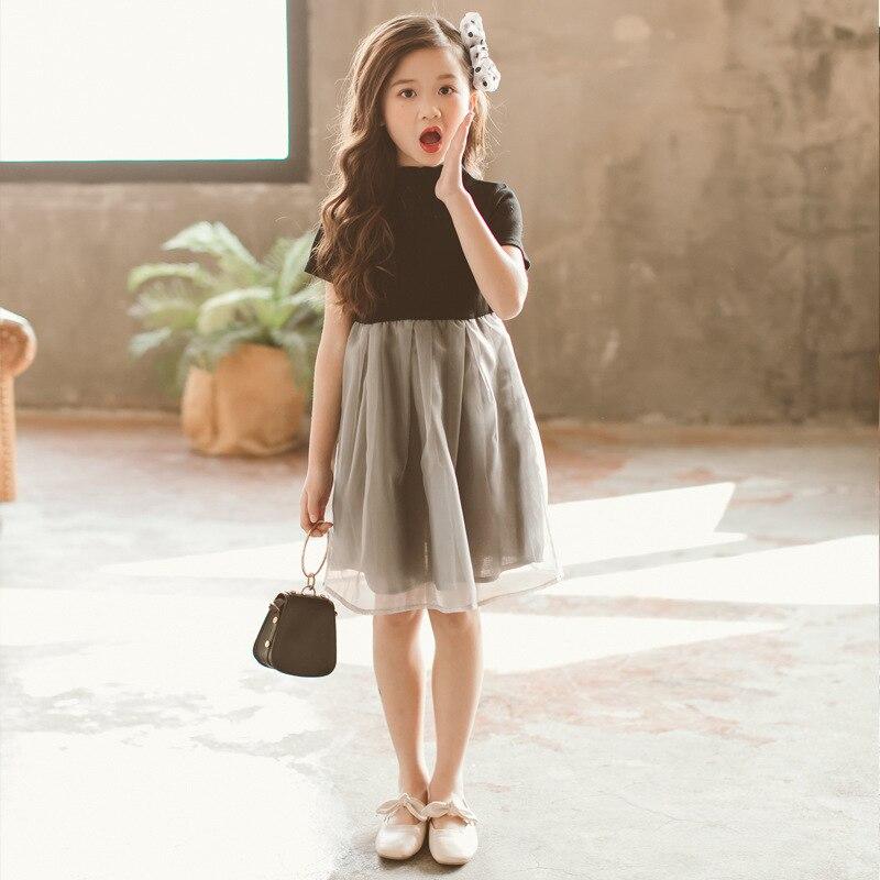 2018 noir gris petite dame robe pour bébé filles Simple Hepburn Design doux vêtements pour adolescent âge 56789 10 11 12 13 14 ans