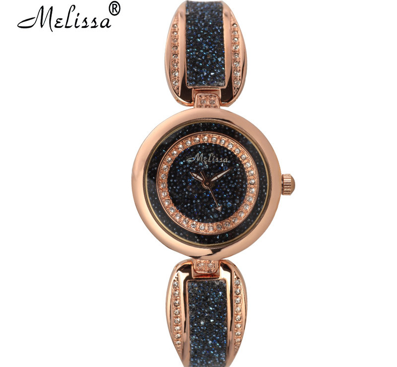 Vintage Fashion MELISSA Flash Crystals Watches Elegant Fashion Bangle Bracelet Wrist watch Japan Quartz Reloj Montre Femme F8181 cdts 35 45 46 summer zapatos mujer peep toe sandals 15cm thin high heels flowers crystal platform sexy woman shoes wedding pumps