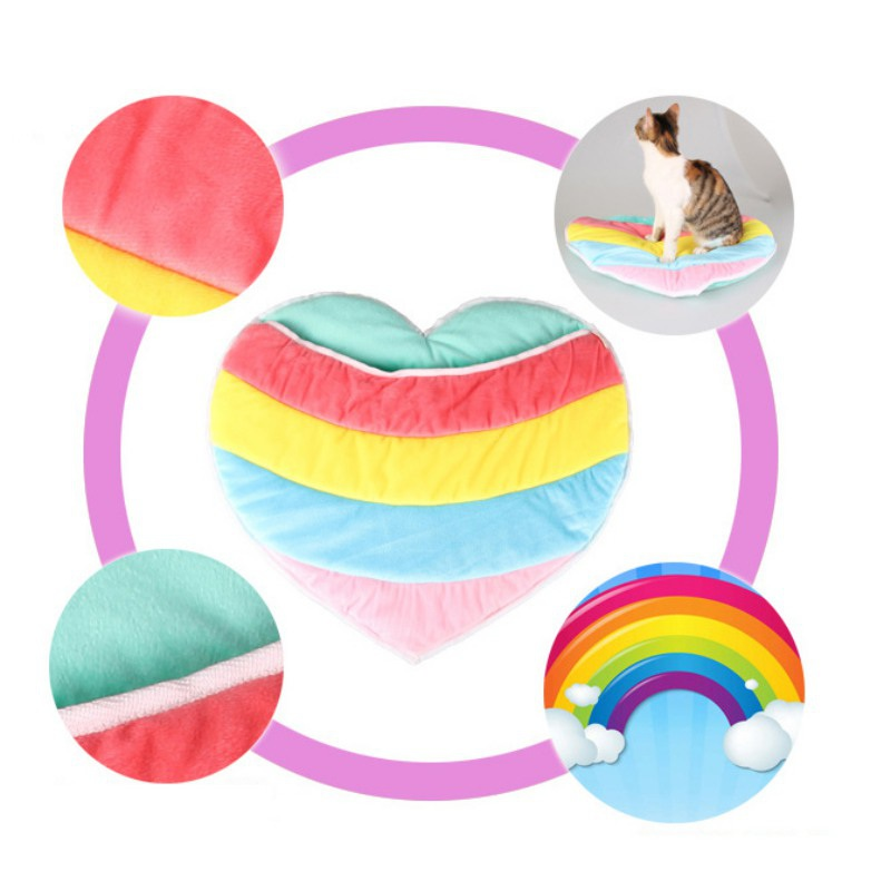 Cute Rainbow Color Heart Shape Warm Soft Plush Cat House Small Dog Puppy Pet Sleeping Bag Kennel Mat Cat Bed