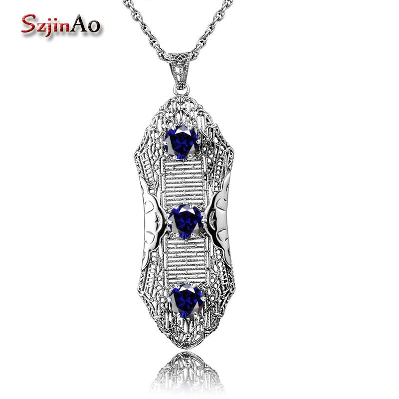 Szjinao Genuine 925 Sterling Silver Women Pendant font b Necklace b font Without Chain Female 100