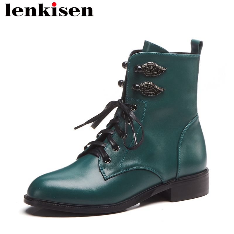 Lenkisen metal decoration ankle boots round toe low heels zip solid cow leather big size green black color women retro shoes L26 цена