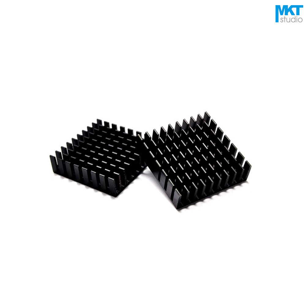 100Pcs Black 35mmx35mmx10mm Pure Aluminum Cooling Fin Radiator Heat Sink