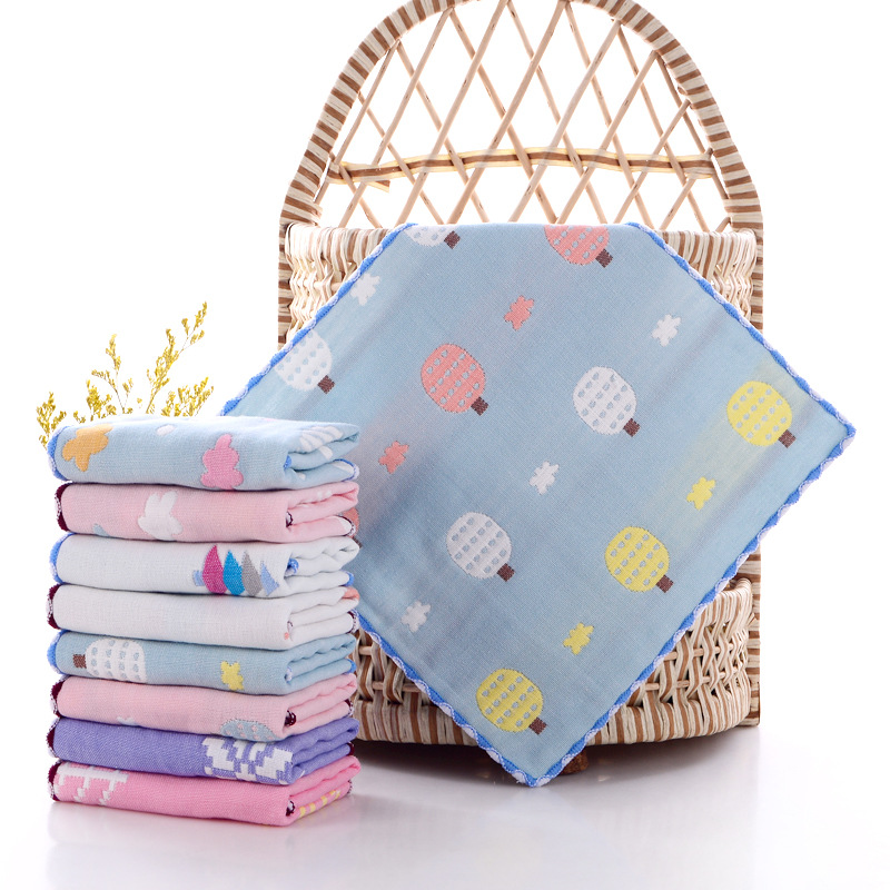 Newborn Baby 6 Layers 100% Cotton Gauze Cartoon Infant Face Hand Bathing Towel Bibs 25X25CMc Feeding Square Towels Handkerch