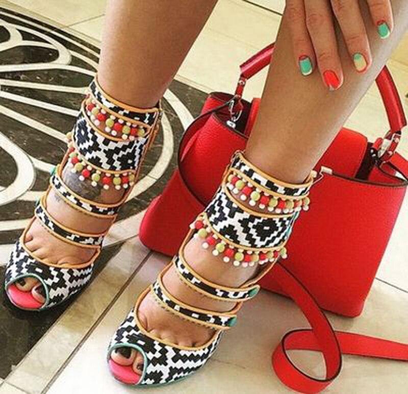 Mélangées Peep 2 Géométrique 1 color Chaussures Sexy Gland Color En Couleurs Dames Perles Toe Cuir Parti Femmes Talons Sandales Bottes Multi Hauts Tressé 0BqS5Stw