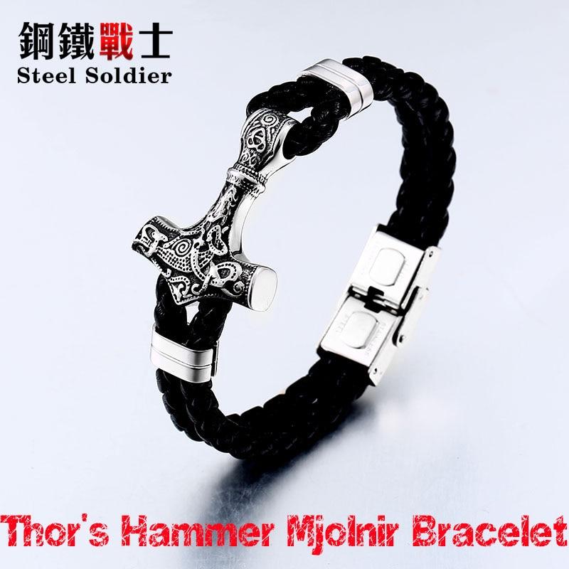 steel soldier wholesale drop shipping thor's hammer mjolnir bracelet viking Stainless Steel norse scandinavian bracelet Men цена