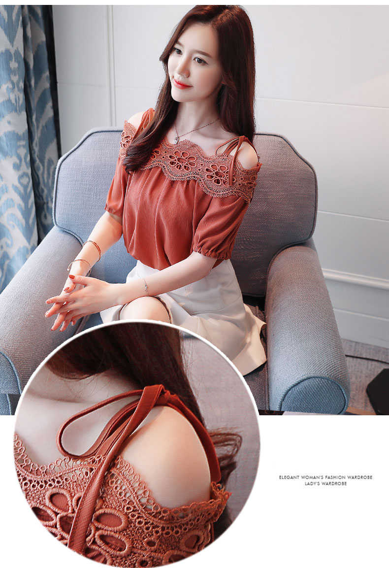 2019 Summer Women sexy White Elegant Lace Blouse cold shoulder lace Shirt Tops Short Sleeve Blusas Hollow Out blouse shirt 604G5