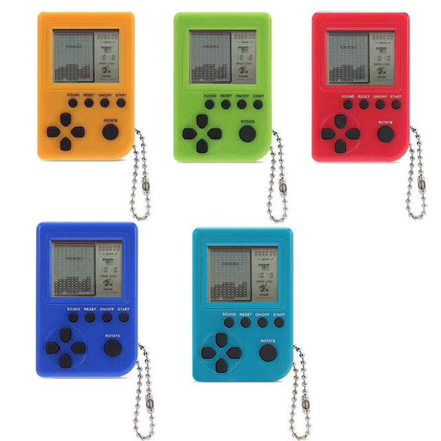 KaRue 10PCS Tetris Handheld Game Console Pendant Keychain Handheld Game Playes Mini Child Games Nostalgic Classic Childhood