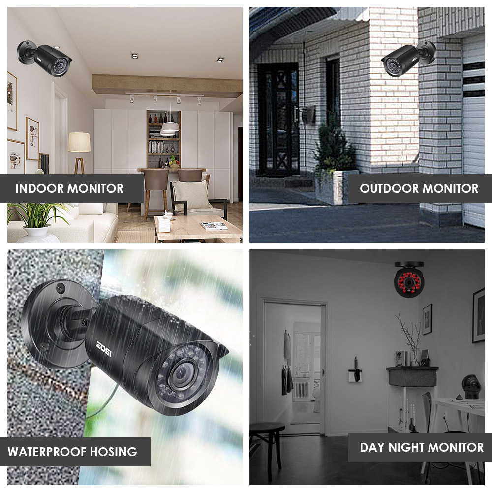 ZOSI 8CH Videoövervakningssystem 8x720P / 1080P Inomhus utomhus IR - Säkerhet och skydd - Foto 4