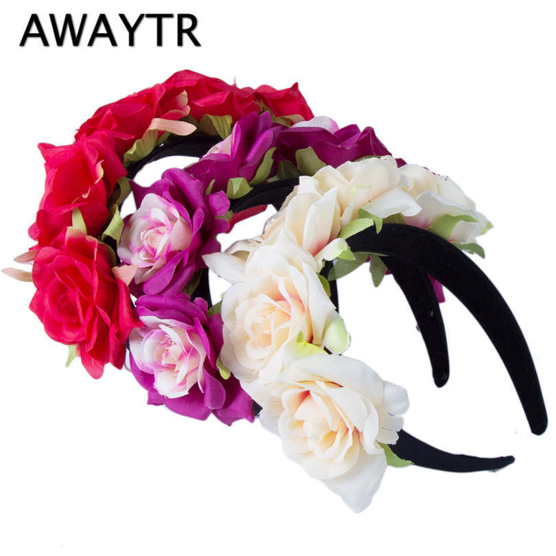 AWAYTR Romantic   Headwear   Rose Flower Hairbands Wedding Crown Hair Ornaments Festival Decor Hair Wreaths Women Hair Hoop