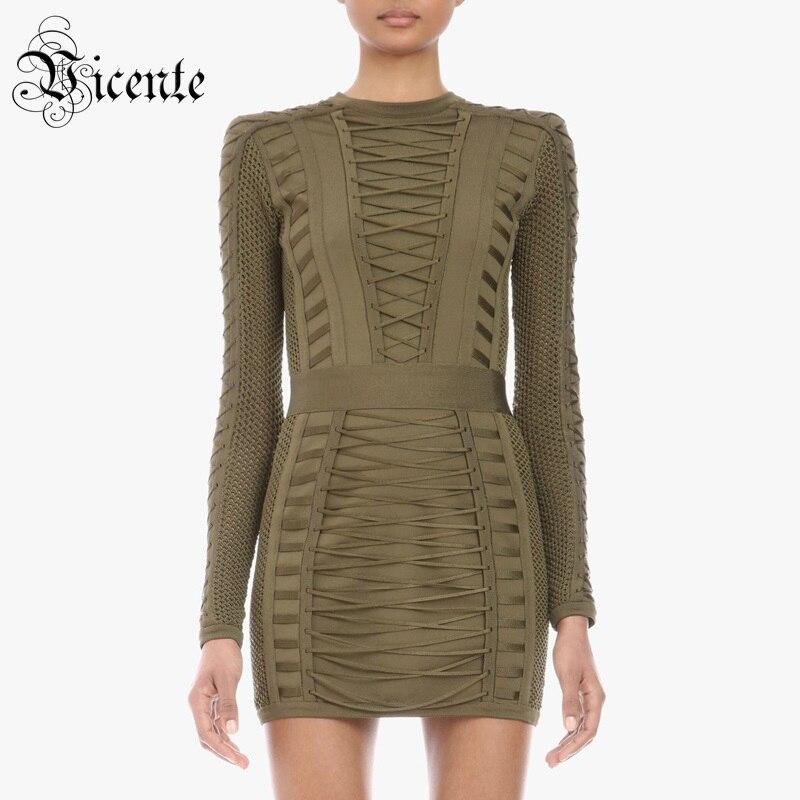 Vicente 2019 nouvelle robe verte armée Chic à lacets croisés conception manches longues célébrité Club de fête Bandage Mini robe