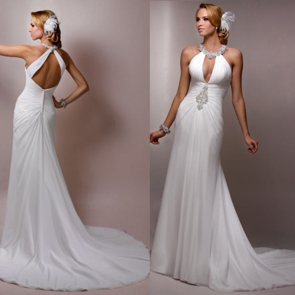 Wedding Halter Wedding Dress chiffon halter wedding dress promotion shop for promotional adln wholesale flowing beach neck sexy backless dresses with sweep trains