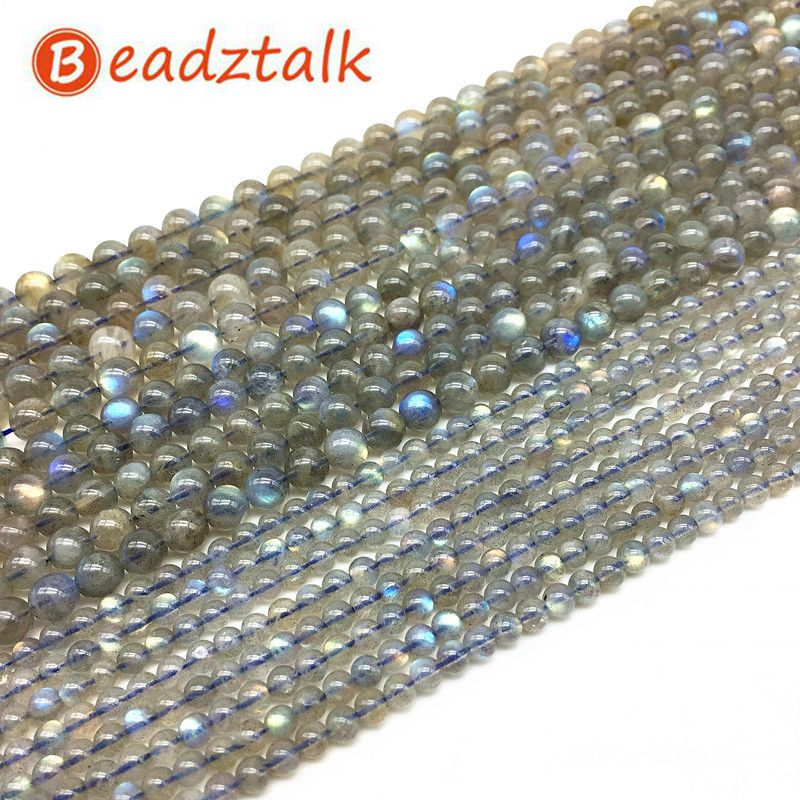 BEADZTALK AA Round Stone Labradorite Moonstone Spacer Beads 4 mm 5 mm 6 mm 7 mm 8 mm DIY Jewelry Necklace Making Supplies Gift