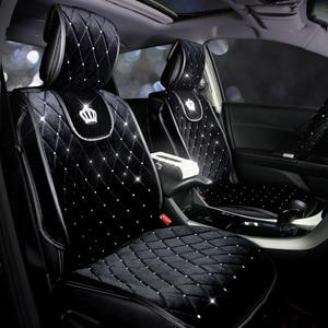 Image 2 - Housses de siège universelles pour véhicule, avec strass, jeux complets, peluche pour lhiver, coussin de siège pour véhicule, accessoires dintérieur en cristal