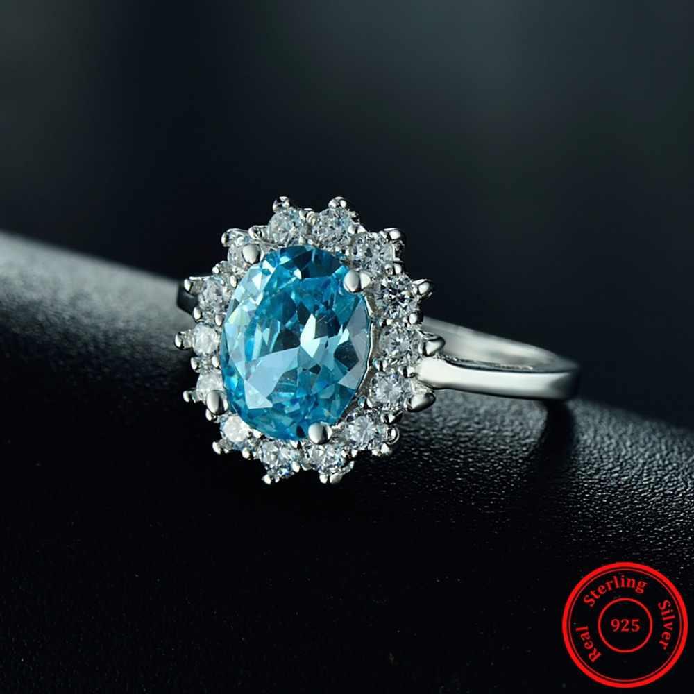 2.0Ct แฟชั่นเงินแท้ Silver 925 Sterling Silver แหวนแฟชั่นผู้หญิงของขวัญ 5A Zircon เครื่องประดับยี่ห้อหมั้นแหวนเงิน