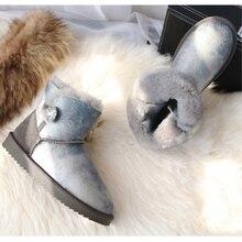 BLIVTIAE/Luxury Sheepskin Snow Boots Women Genuine Leather Short Crtstal Button Sweet Boots Winter Wool Sheep Fur Boots