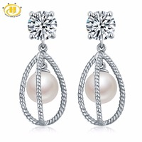 Hutang Pearl Jewelry 100% Natural Fresh Water Pearl Stud Earrings Solid 925 Sterling Silver Fine Fashion Jewelry For Women Gift