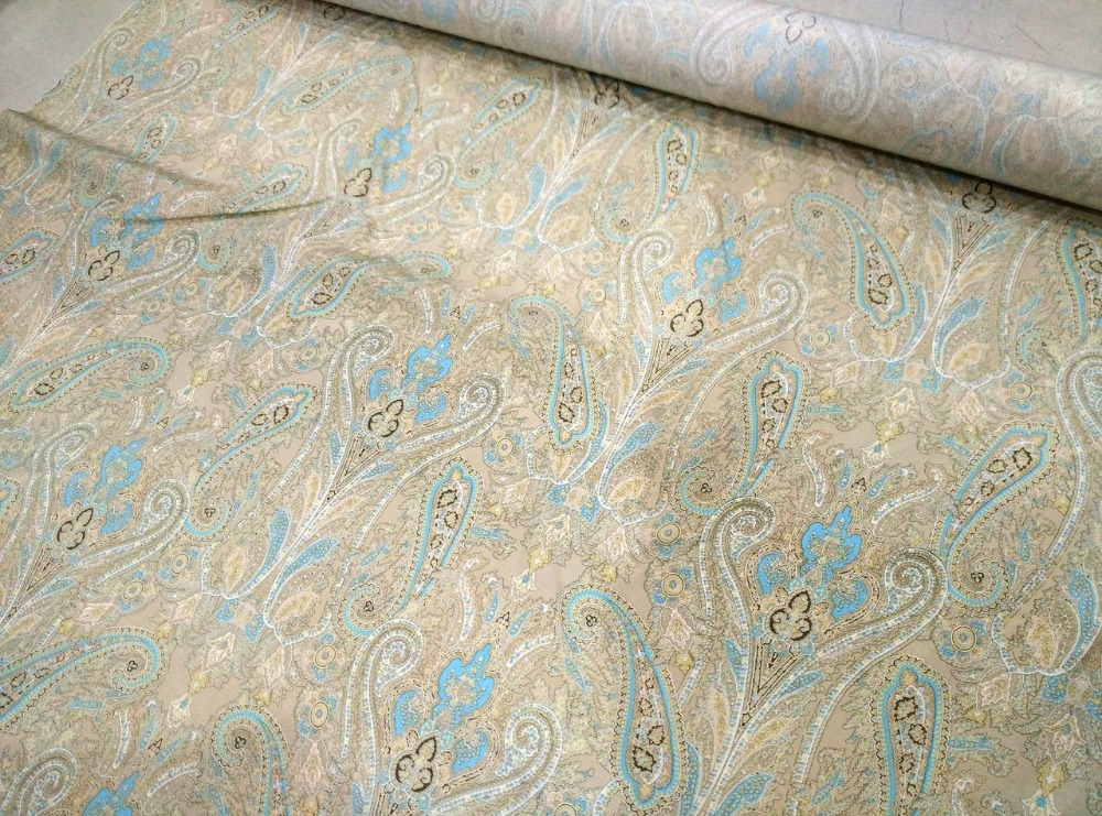Telas quality heavy silk floret Apricot cashew flowers prints silk satin fabric for dress shirt clothes scarf tissus au metre