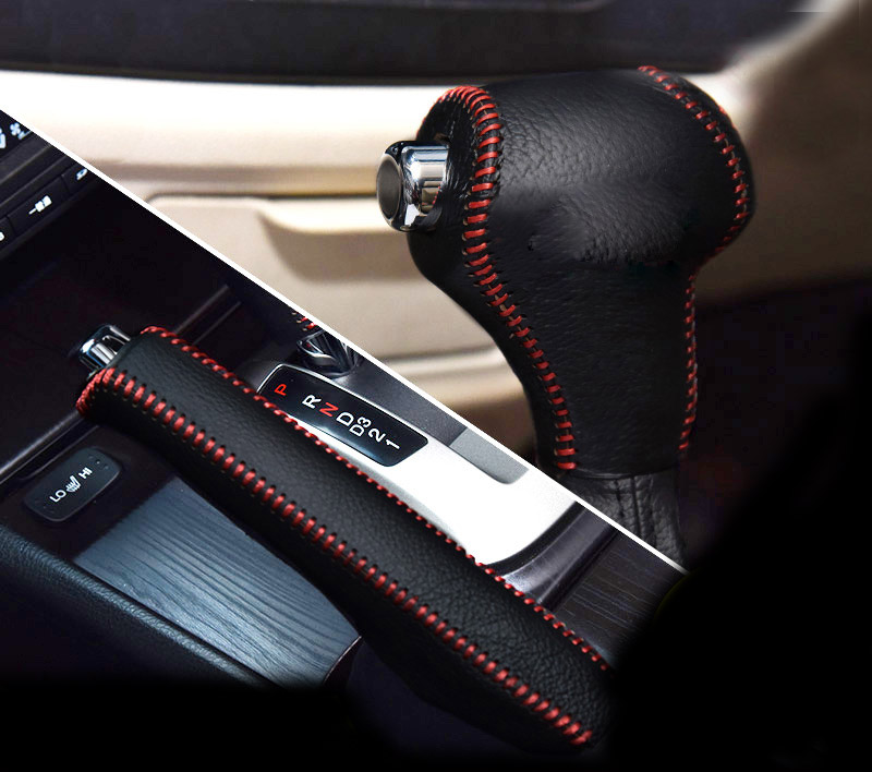 2pcs/set for KIA ( AT or MT) sportage K2 K3 K4 K5 KX5 KX3 gear ball cover (1pc) + hand brake cover (1pc) top layer leather
