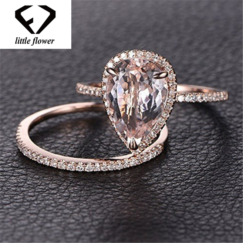 14K Solid Rose Gold Ring Set Diamond Jewelry Fashion Bague Etoile Bizuteria Peridot Gemstone 14k Engagement Rings Band