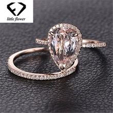 14K Solid Rose Gold Ring Set Diamond Jewelry Fashion Bague Etoile Bizuteria Peridot Gemstone 14k Engagement Rings Band