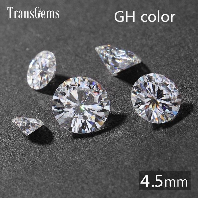 TransGems 0.4ct карат 4,5 мм GH бесцветный круглой бриллиантовой огранки Лаборатории Grown Муассанит Алмаз Тесты Postive как настоящий бриллиант ...