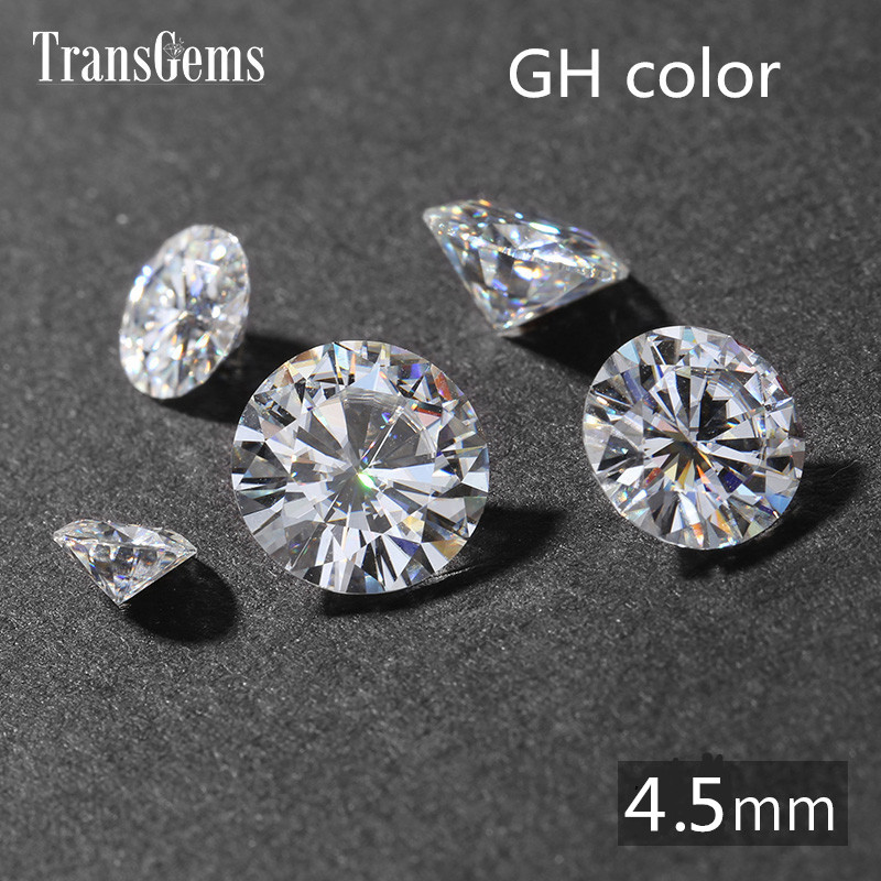 TransGems 0.4ct Carat 4.5mm GH Colorless Round Brilliant Cut Lab Grown Moissanite Diamond Test Postive as Real Diamond transgems 1 carat lab grown moissanite diamond solitaire wedding band for man brilliant solid 18k two tone gold gentle dcc031