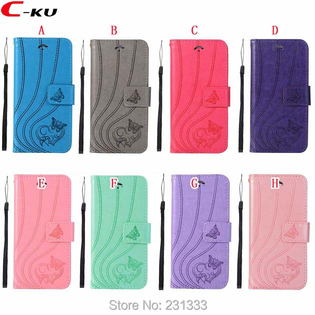 C-ku Strap Butterfly Wallet Leather Pouch Case For Samsung Galaxy S8 PLUS S9 S7 EDGE S6 S5 NOTE8 Stand ID Card Skin Fashion 1pcs