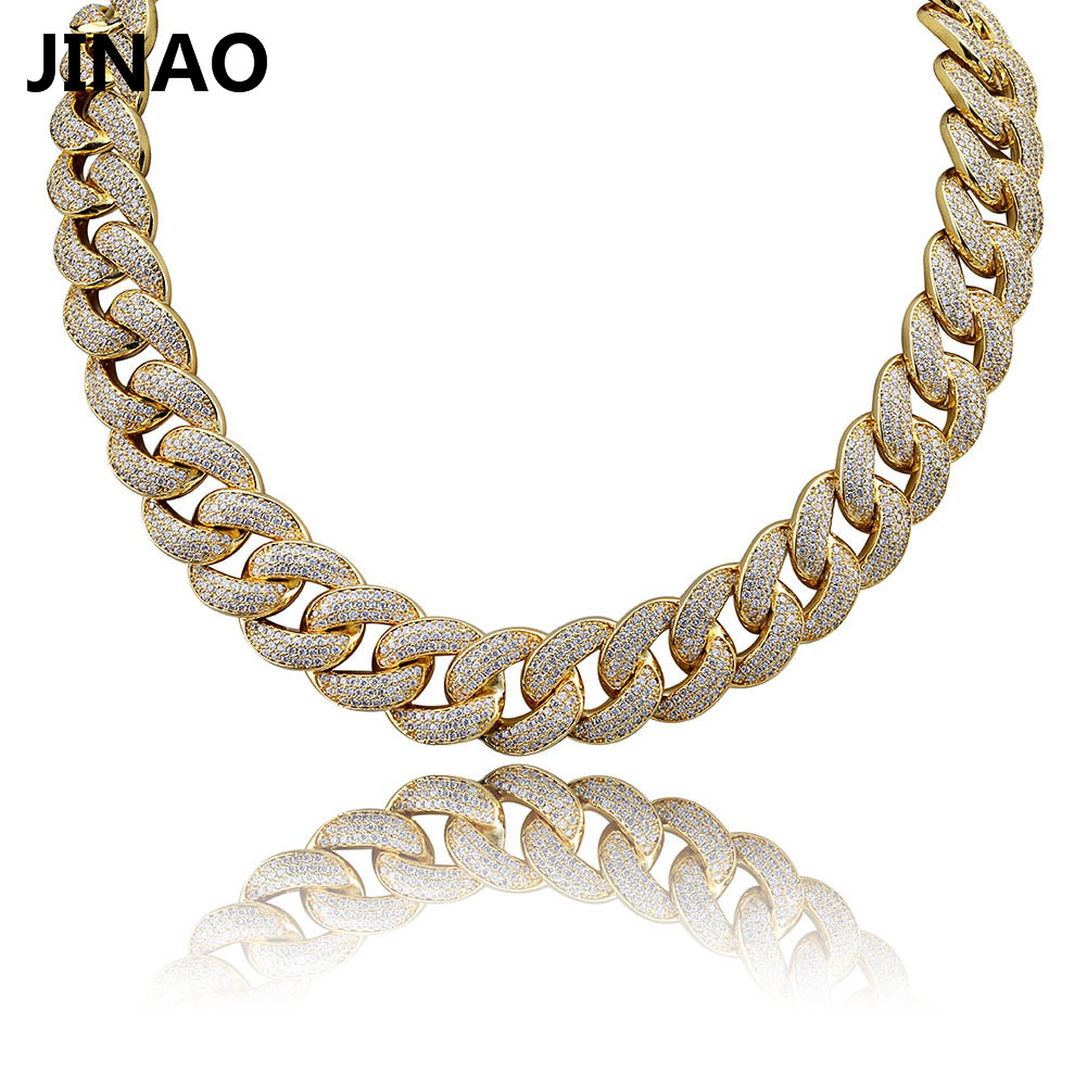 JINAO New 18MM Maimi Cuban Link Chain Necklace Silver Rose Color Iced Out Cubic Zircon Hip