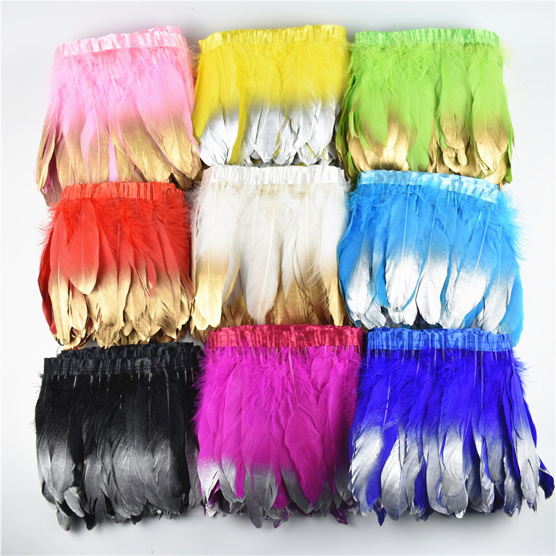 Wholesale 15-20CM Gold Silver Dipped Goose Feather Trims Fringe Ribbon Dyed Pheasant Feather For Craft decorative Clothing Plume