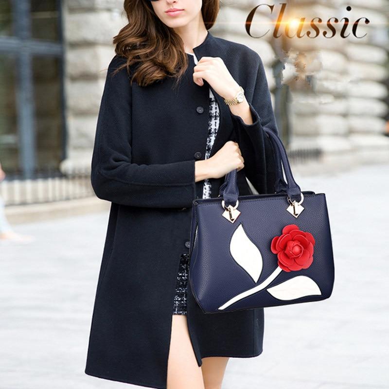 De Décoration Rose Pu Sac À Bleu Messager Mode Main Office Rouge Femmes Élégante Lady Fleur Bandoulière OnPqzp