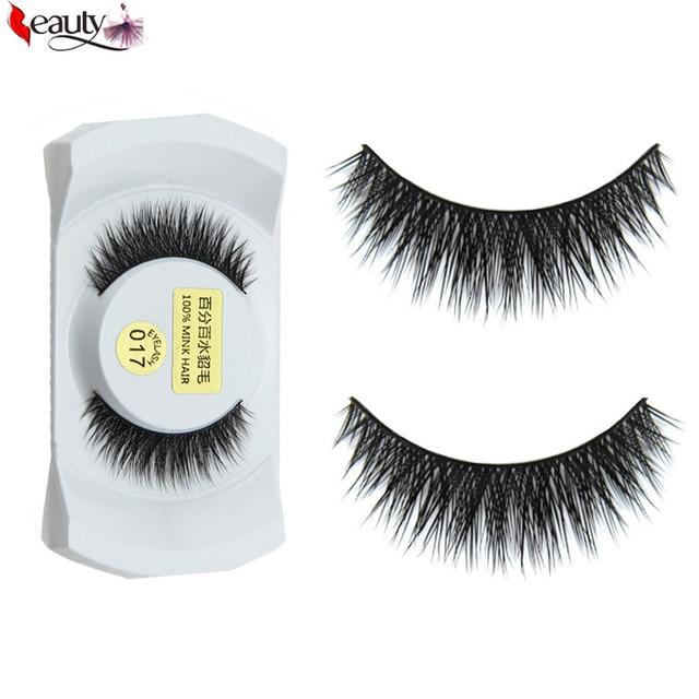 b169349420d HOT Women 1 Pair Luxurious 100% Real Mink Hair 3D Natural Thick Long Cross  Fake False Eyelashes Eye Lashes Beauty