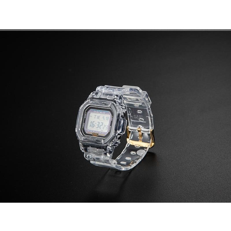 Силиконовый сменный Браслет наручных часов для DW5600 DW5610 резиновый ремешок спортивные водонепроницаемые часы ремни часы прозрачные ободок