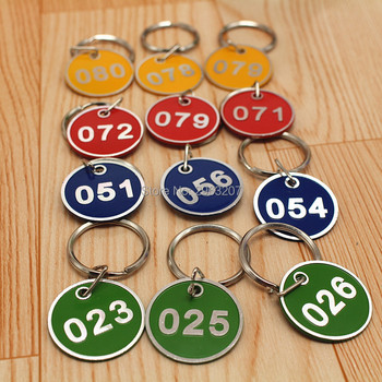 100pcs Aluminum Alloy Metal Sign Keychain Signage With Ring Digital Label Tag Number Card Plate With Key Chain