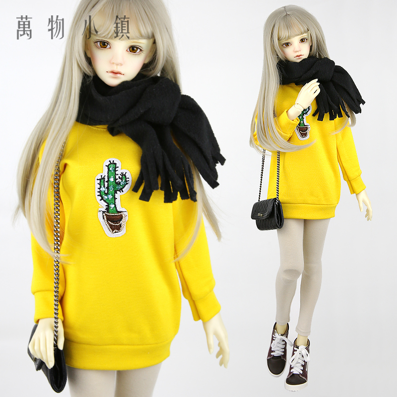 NEW 1/3 BJD SD Doll Clothes Yellow Cactus round collar T-shirts + trouser Suit 1 4 1 3 sd17 uncle bjd sd doll accessories bjd clothes black t shirt