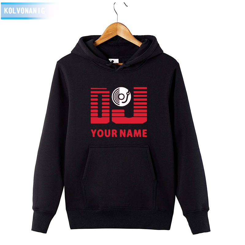 DJ Your Name Hoodies Personalized Surname Print Men's Long Sleeve Hip Hop Sweatshirt Cotton Winter Dresses For Men Hood Pullover