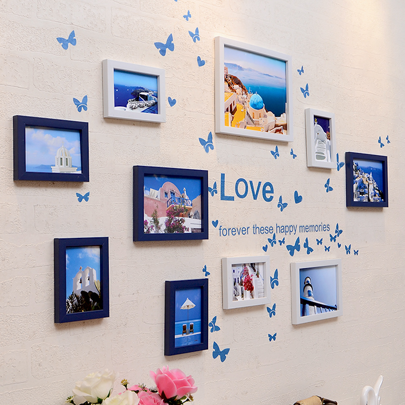 Modern Frame Collage Picture Photo Frame Set Wall Hanging Family Photo Frames with Wall Sticker Home