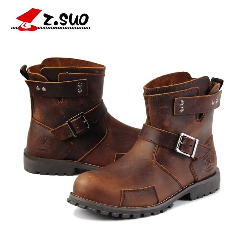 Z. Suo men boots. Mouthpiece buckle casual fashion men boots, vintage leather western boots for men, fashionable hollow out letter z shape embellished auto buckle belt for men