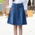 2016 Mulheres Coreanas denim saia uma palavra saias femininas verão simples saia jeans Coreia Do Instituto de vento