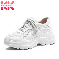 KemeKiss Women Sneakers Real Leather Casual White Shoes Women Outdoor Lightweight Air Mesh Fitness Chunky Sneaker Size 34 39