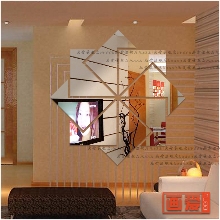 Wall stickers mirror crystal three-dimensional sticker room decoration wall stickers romantic gift