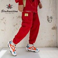 Stubnation 2018 A/W боковые карманы Лоскутные Спортивные брюки мужские свободные съемные Jogger Брюки