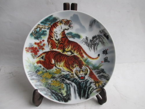 old  antique plates Ancient Chinese ceramics painting, tiger plates decoration