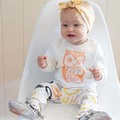 2017 новые Поступления детские девушки одежда установить футболка с Длинным рукавом + брюки сова pattern детская одежда установить новорожденного костюм bebes