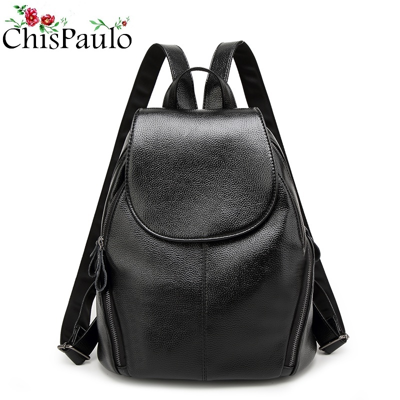 CHISPAULO Designer Cowhide Genuine Leather Backpack Women Bags Large Capacity  Preppy Style School bags Fashion Women's  N109 2017 new arrive famous brand designer women bling bling backpack fashion sequins backpack preppy style girl s school bags xa294b