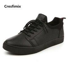 Cresfimix zapatos hombre male fashion comfotable street high quality pu leather lace up shoes men cool autumn white shoes b2760