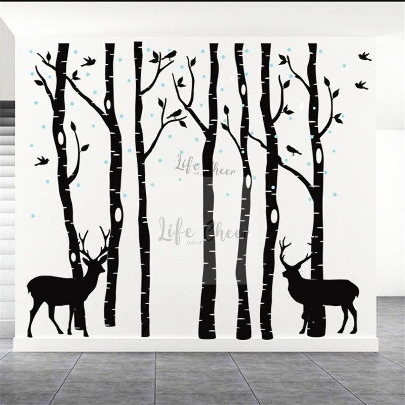 7 bouleau arbres avec des Branches mur décalcomanie maison pépinière décor grande taille oiseaux grand arbre mur vinyle autocollants couleurs personnalisées Art AC207