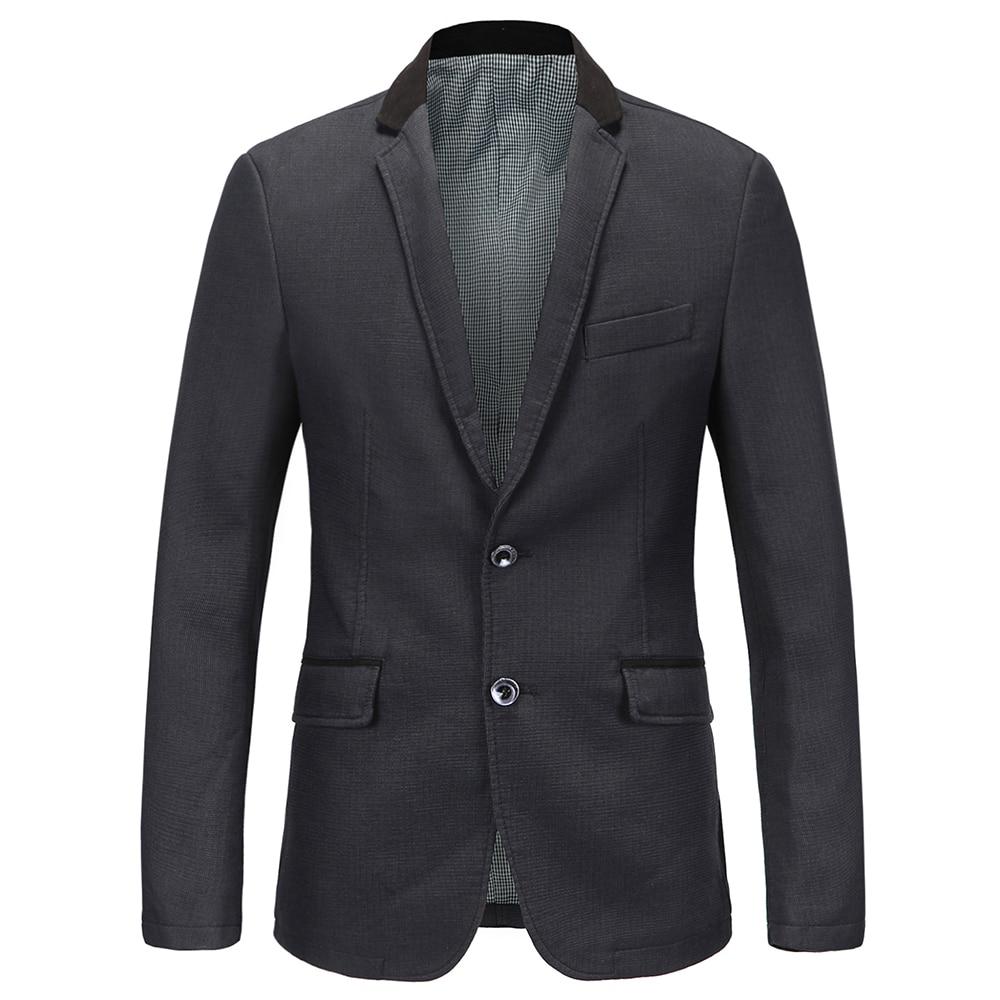 e8076899c3 100% boa Alta Qualidade outono Nova Moda de Algodão Mais Fino tamanho M-XXL  da Coréia Do Estilo Terno Blazer Jaqueta Masculina Homens profunda cinza
